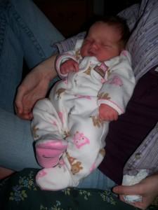 Rebecca sleeping in Rachel's lap