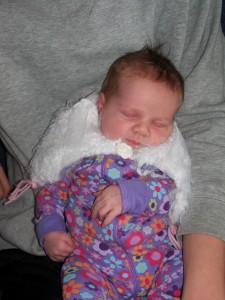 Rebecca in her poncho