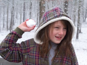 Mary throwing a snowball