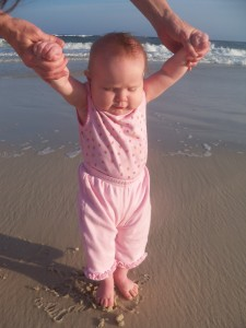 Rebecca's first steps on the beach