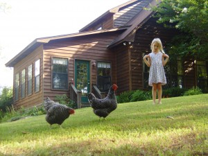 Beth with the chickens in our backyard